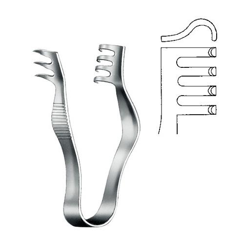 Wound Spreader 3 x 4 teeth Blunt 7.5 cm   Zainsa Instruments